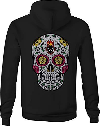 Zip Up Hoodie Sugar Skull Pink Hooded Sweatshirt for Women - Large Black