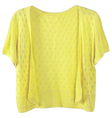 Knit Short Open Sleeve - Women's Trendy Short Sleeve Shrug Open Cardigan Knit Crocheted Cardigan (Yellow, Large)