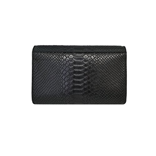 chain wallet and Black leather body Reptile RONDA nickel with Baugette smooth mini clutch Italian stiff cross Clutch suede bag xHwgpqvw