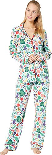 (BedHead Women's Long Sleeve Classic Notch Collar Pajama Set Fruits/Veggies)