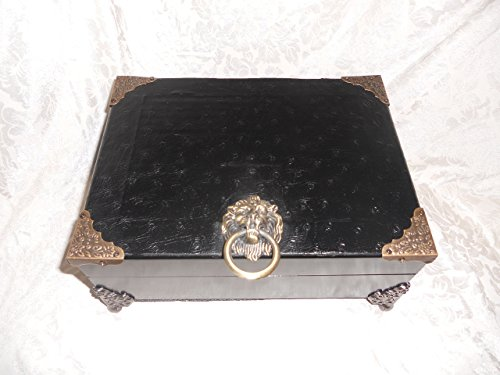 Mens Jewelry Box, Custom Box Valet, Black Ostrich Leather, Valuable Box, Personal Box, Organizing box, Leather by TST Specialty Designs