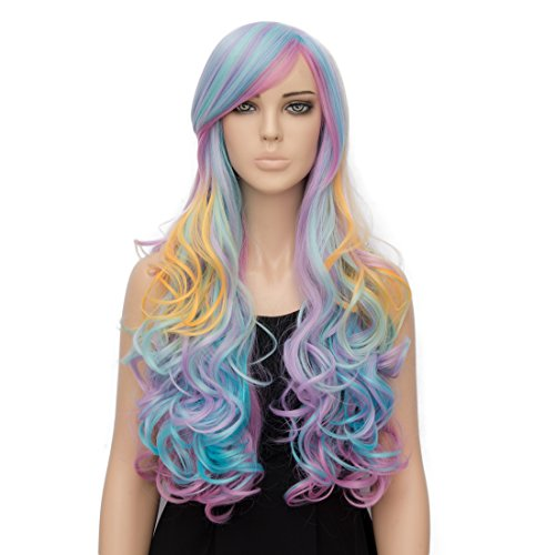 [Netgo Colorful Rainbow Lollita Wig Long Wavy Synthetic Fiber Costume Wig for Cosplay Halloween] (Cheap Hallowen Costumes)