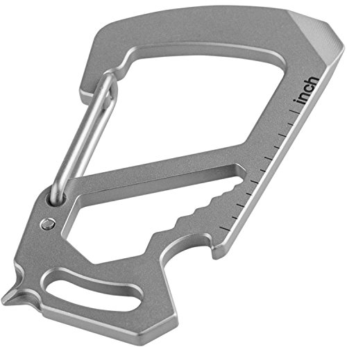 Northwall Carabiner Keychain Multitool, Titanium [Strong and Lightweight] 12 in 1 Multi Tool Caribeaner Clip [Keychain Bottle Opener, Wrench, Screw Driver, etc.]