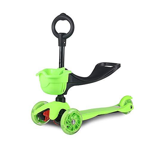 WYFDM Scooter para niños, niños y niñas pequeños o niños-Ajustable Altura w/Extra-Wide Deck PU Intermitente Ruedas para niños de 2 a 10 años de Edad,Green por WYFDM