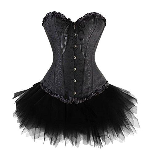 Chenyi Women's Fashion Overbust Corset Top with Layered Mini Skirt Tutu Dress Set Dot Lace black 5XL ()