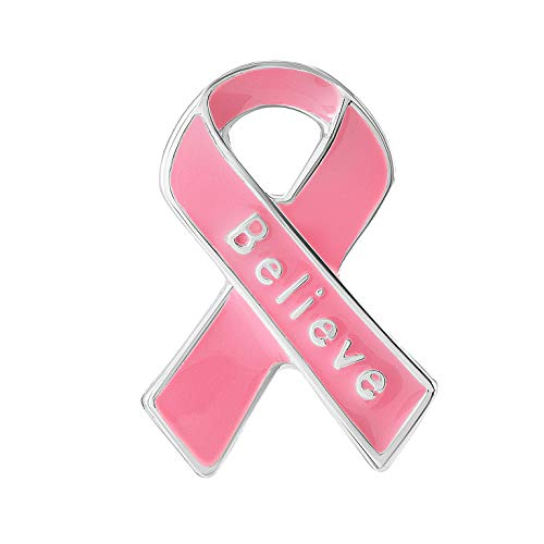 25 Pack Breast Cancer Awareness Small Pink Ribbon Believe Pins (25 Pins in Bulk)