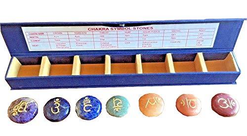 Set of 7 Sanskrit Chakra Symbol Engraved Stones Including Amethyst, Blue and Green Aventurine, Lapis, Golden Quartz, Peach Aventurine and Red Jasper With Description Of Chakra Names, Mantras, Seats