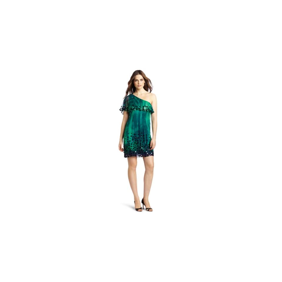 Frock by Tracy Reese Womens Roslyn One Shoulder Dress, Emerald, Petite