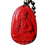 Buddha Bodhisattva Pendant Necklace Religious Amulet Red Cinnabar Amitabha Infinite