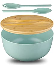 Large Salad Serving Bowl with Lid and Tongs, Bamboo Fiber Salad Bowl Set for Salad,Fruit,Vegetables to Replace Wooden Bowls