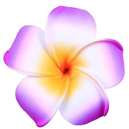 Hawaiian Hair Flowers/Florida Beach Plumeria Wedding Flowers Foam Hawaii Frangipani Flower Hairclip (Purple)]()