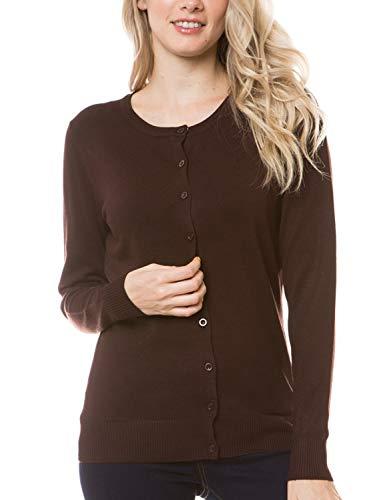 Round Sweater Knit Neck - MAYSIX APPAREL Womens Long Sleeve Lightweight Button Down Round Neck Knit Sweater Cardigan MOCHA L