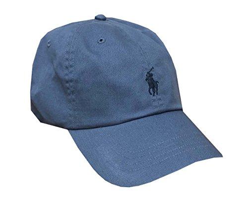 RALPH LAUREN Polo by Mens Pony Logo Adjustable Hat Cap (One Size, Steel Blue) ()