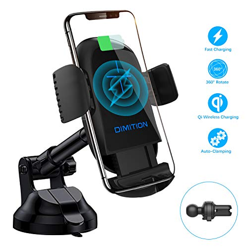 Phone Holder for Car,DM Car Phone Mount USB-C Dashboard Air Vent Car Phone Holder Qi Wireless Car Charger Compatible with iPhone Xs/XS Max/XR/X/8 Plus,Samsung S8/S9/S10/S10 Plus/Note 9 and More