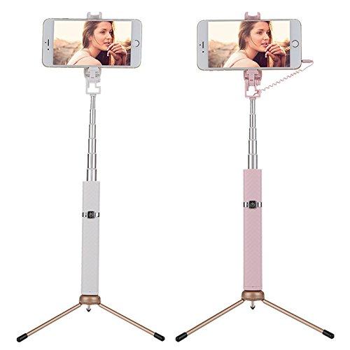 zantec Tragbare Mini 7Abschnitt verstellbar Bluetooth Selfie Stick Fashion Einfache Selfie Stick, weiß Schwarz