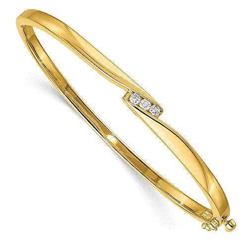 - 14K Yellow Gold Jewelry Bangle Bracelets Hinged 5 mm 7 in AA Diamond bangle