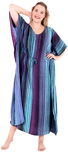(LA LEELA Caftans for Women Long Kaftan Sleepwear Purple_L260 OSFM 12-20W [L-2X])
