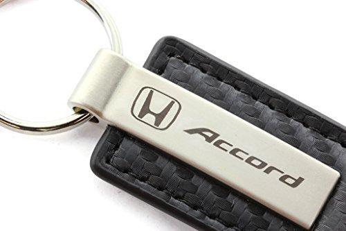 Honda Accord Black Carbon Fiber Texture Leather Key Chain (Honda Accord Oem Carbon Fiber)