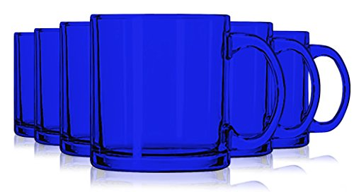 Blue Jumbo Cup (Libbey Cobalt Blue Jumbo Coffee Mug Glasses 13 oz. set of 6 - Additional Vibrant Colors Available by TableTop King)