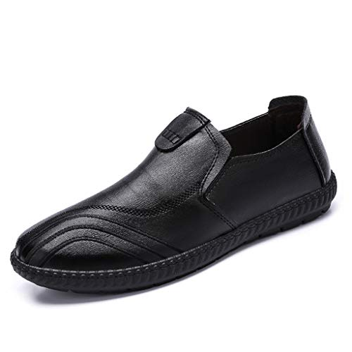 (WENSY Men's Large Size Casual Fashion Light and Comfortable Casual Shoes Leather Shoes British Wind Single Shoes(Black,42))