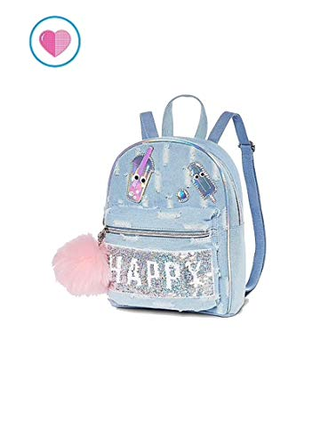 Justice Mini Backpack Flip Sequin Happy/Smile Denim from Justice
