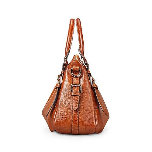 9614 Suave Hobo S Mujer Vintage Bag Mano Mano De Piel Cuerpo Marrón Hombro Bolsa negro Cruz La Bolso Vaca zone XHqXYB