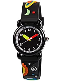 Kids Watches 3D Cute Cartoon Waterproof Silicone Children Toddler Wrist Watches Time Teacher Gift Toys for Boys Little Child (Universe)