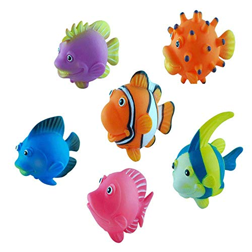 - Assorted Squirting Fish - Cute Floating Cartoon Soft - Fish Tank Decorations Marine Animal Models- Baby Bath Play Bathtub Water Toys(Pack of 6)