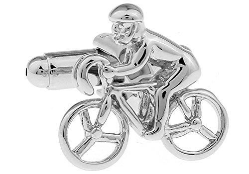 Executive Cufflinks (Men's Executive Cufflinks Silver Tone Bike Cyclist Bicycle Biker Cufflinks)