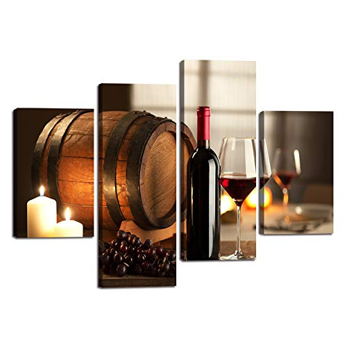 (Wall Art Canvas Artwork Fruit Grape Red Wine Flickering Lighted Candles Wine Glass Bottle and Barrel Picture Home Decoration Contemporary Paintings for Dining Room Kitchen 4 Pieces(48x32 inch))