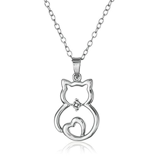 - Cute Cat Sit Lovely Animal Pendant Necklace Gift for Women Girl