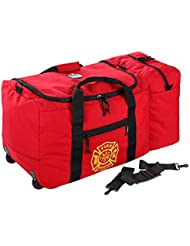 Arsenal 5005W Large Nylon Rolling Firefighter  Rescue Turnout Fire Gear Bag with Shoulder Strap and Helmet Pocket