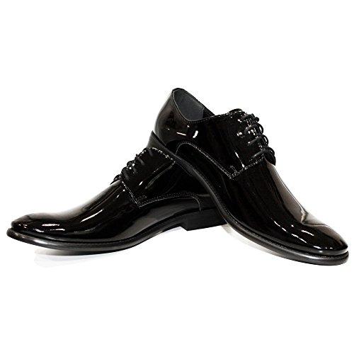 f241c913c43c7 Modello Obsidian - Handmade Italiennes Cuir pour des Hommes Black Chaussures  Oxfords - Cuir de Vachette