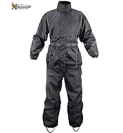 exquisite design where can i buy 2019 best sell Xelement RN4760 Men's Black 2-Piece Motorcycle Rain Suit with Boot Strap -  Black / 2X-Large