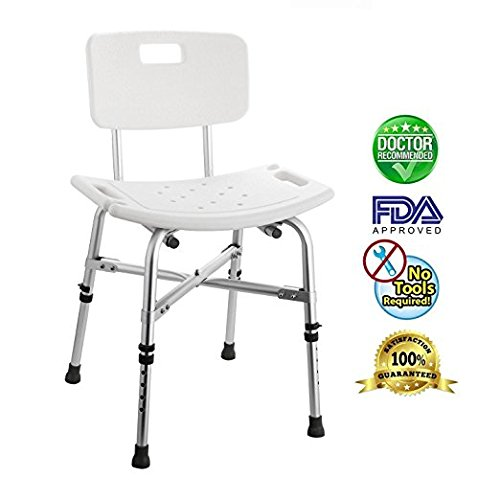 Sturdy Heavy Duty Aluminium Shower Stool Seat Chair w/ Removable Back, Adjustable Handicap Medical Bath Chair/Bathroom Aid Chair, Tool-Free Assembly, Up To 330LBS(US STOCK) by Leoneva