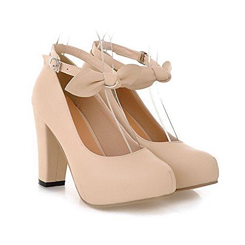Fibbia shoes tacchi Amoonyfashion Chiuso Morbido Materiale Donne Punta Solido Rotondo Beige Pompe xAFOwnqC