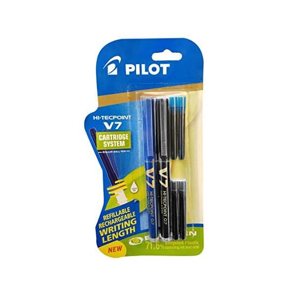 Pilot V7 Hi-tecpoint Pen with cartridge system - 1 Blue, 1 Black Pen, 2 Blue cartridges, 2 Black cartridges