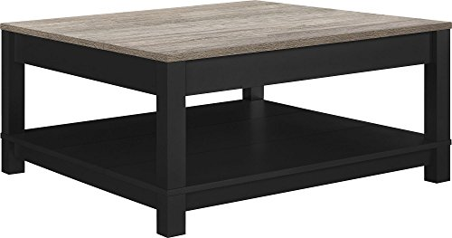 Ameriwood Home Carver Coffee Table, Black (Collection Distressed Black Finish)