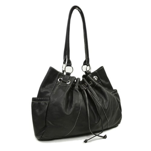 Piel Leather Drawstring Tote (Black), Bags Central