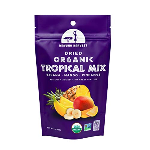 Mavuno Harvest Direct Trade Organic Dried Fruit, Tropical Mix- Mango, Pineapple and Banana, 2 Ounce (Pack of 6)