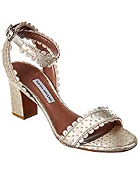 Tabitha Simmons Leticia Metallic Perforated Leather Sandal 36 5 Metallic