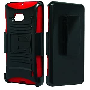 Black Red Holster Hard Soft Gel Dual Layer Cover Case for Nokia Lumia 929 H4P5