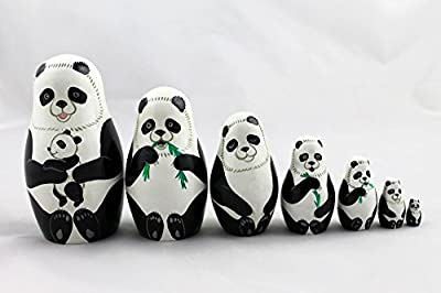 Matryoshka Russian Nesting Doll Babushka Beautiful Panda Family Pandas Set 7 Pieces Pcs Wooden Hand Painted Painting Souvenir Gift
