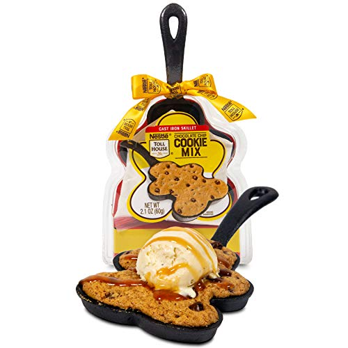 Nestle Toll House Chocolate Chip Cookie Mix: Mini Gingerbread Cast Iron Skillet Edition | Complete with Nestle Toll House Chocolate Chip Cookie Mix and Gingerbread-Shaped Cast Iron Skillet