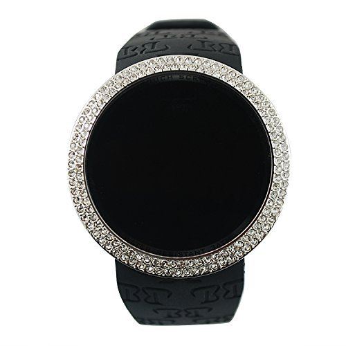 Techno Pave Iced Out Bling Lab Diamond Silver Black Digital Touch Screen Sports Watch Silicone ()