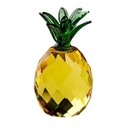 Desk Decor, Hongxin Crystal Crafts Pineapple Glass Paperweight Fengshui Figurine Quartz Ornaments Home Decoration Christmas Souvenir Birthday Party Gifts Office Table Decor (B(60mm))
