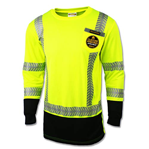 KwikSafety (Charlotte, NC) MECHANIC (with POCKET and Black Waist) Class 3 ANSI High Visibility Safety Shirt Fishbone Reflective Tape Construction Security Hi Vis Clothing Men Long Sleeve Yellow Small