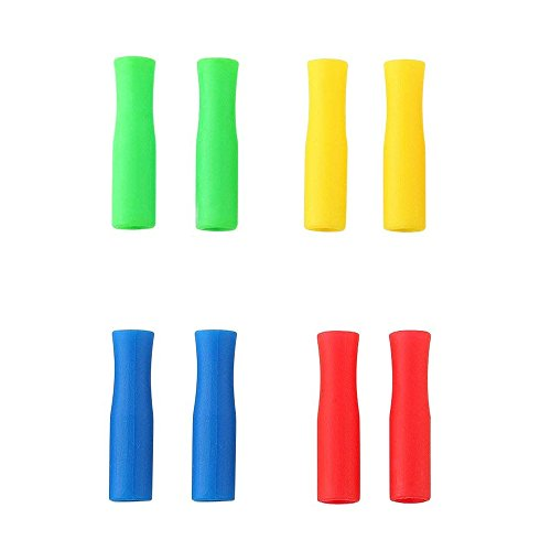 Silicone Tips Cover for Stainless Steel Drinking Straws Wide 1/4 (6 mm), Anti-scald /Cold Straws Cover, Food Grade ,Colorful, 4colors (8pcs)