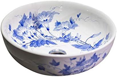 WJ 洗面台 バスルームの洗面台、青と白の磁器技術流域ラウンドカウンタ流域(タップなし)単一流域上記中国語セラミック、40X40X15cm /-/ (Size : 40X40X15cm)