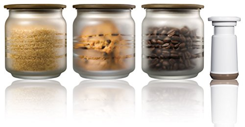 Vacuumsaver C500FBKIT Pack of 3 Translucent Glass Jars + Pump (0.5 L, Classic), Coffee Colour